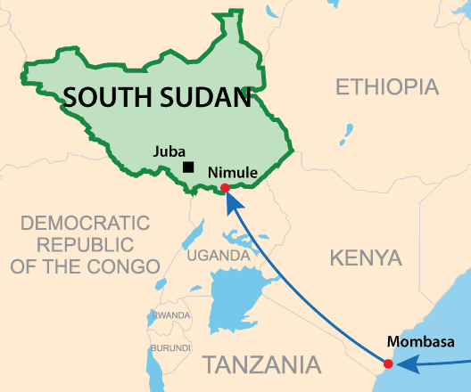 Nimule is a major entry point into South Sudan