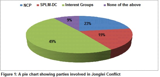 A pie chart showing the parties involved in the Jonglei Conflict