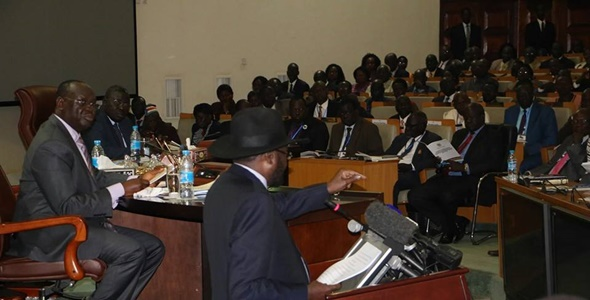 President Kiir at the inauguration of the Transitional National Legislative Assembly in 2016.