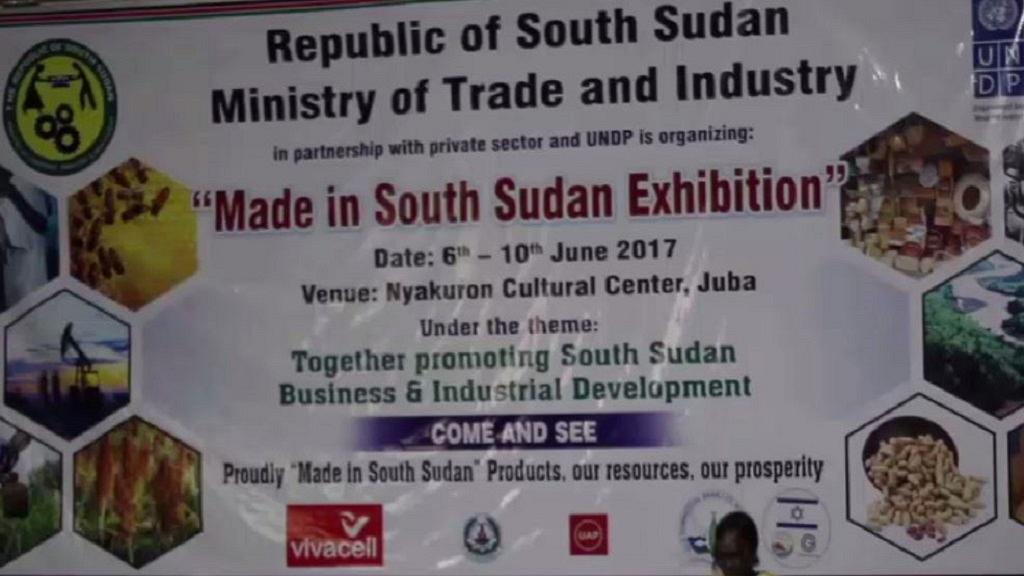 """A banner displays """"Made in South Sudan Exhibition"""" outside Nyakuron Cultural Centre"""